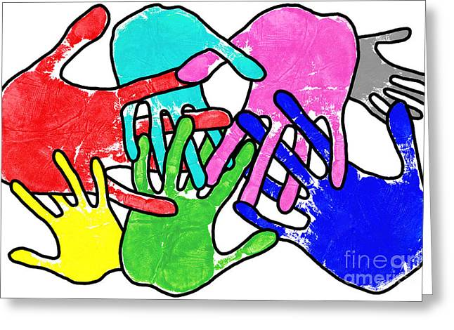 Equality Greeting Cards - Pop art hands on white Greeting Card by Richard Thomas
