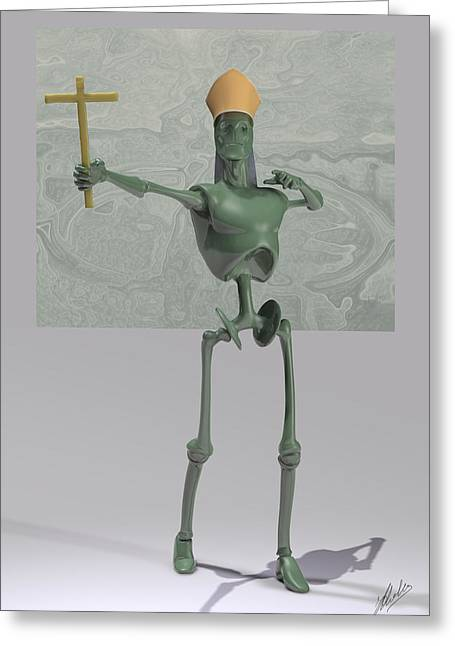 Plastic Mixed Media Greeting Cards - Pope Robot by Quim Abella Greeting Card by Joaquin Abella