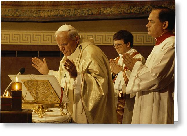 Pope John Paul II Performs A Mass Greeting Card by James L. Stanfield