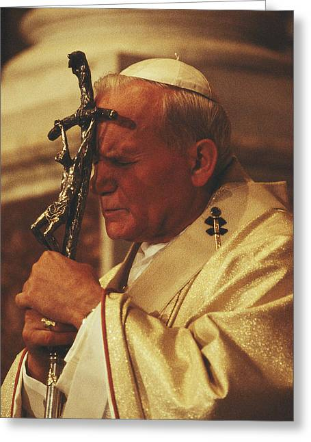 Devotional Greeting Cards - Pope John Paul Ii Prays With A Bishops Greeting Card by James L. Stanfield