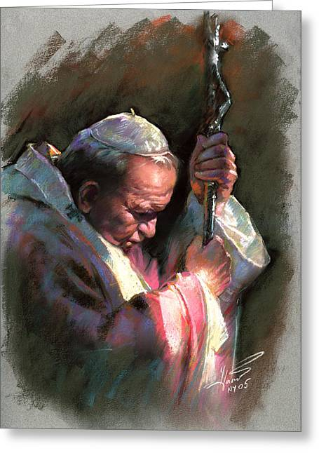 Celebrity Pastels Greeting Cards - Pope John Paul II Greeting Card by Ylli Haruni