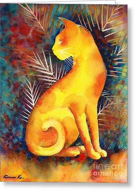 Popoki Hulali Greeting Card by Frances Ku