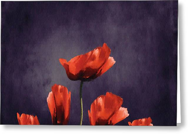 Poppies Fun 03b Greeting Card by Variance Collections