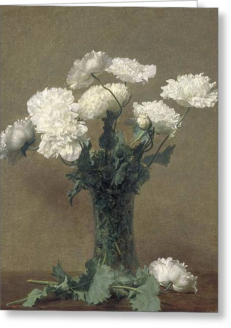 Flower Still Life Greeting Cards - Poppies Greeting Card by Ignace Henri Jean Fantin-Latour