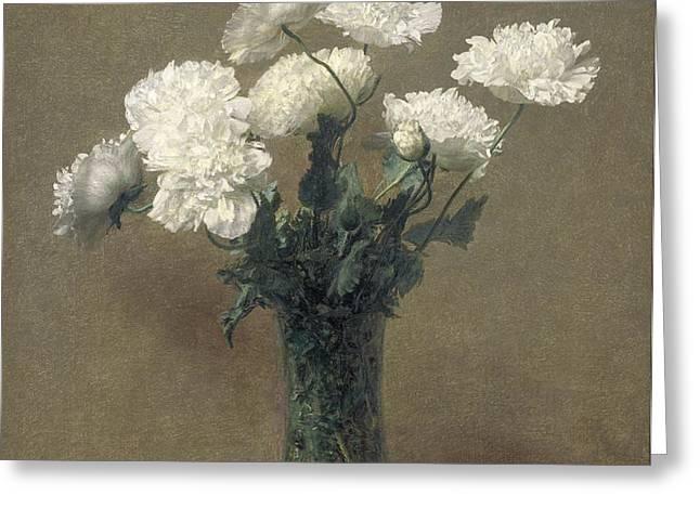 Poppies Greeting Card by Ignace Henri Jean Fantin-Latour