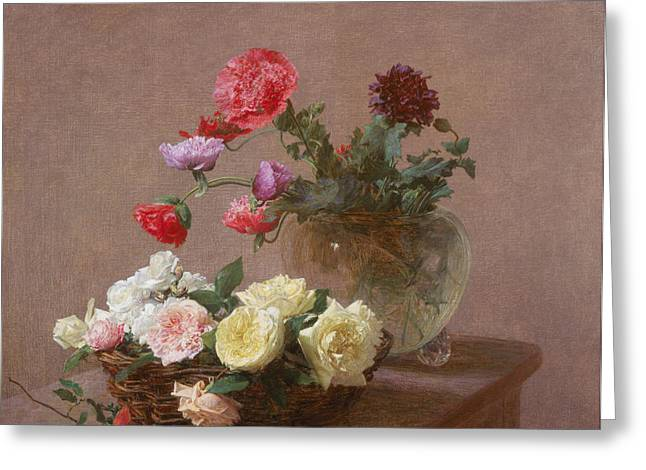 Flower Still Life Greeting Cards - Poppies in a Crystal Vase - or Basket of Roses Greeting Card by Ignace Henri Jean Fantin-Latour