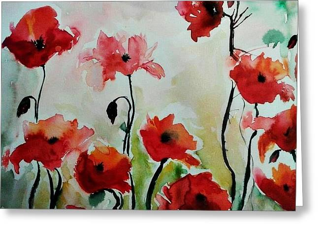 Poppies Meadow - abstract Greeting Card by Ismeta Gruenwald
