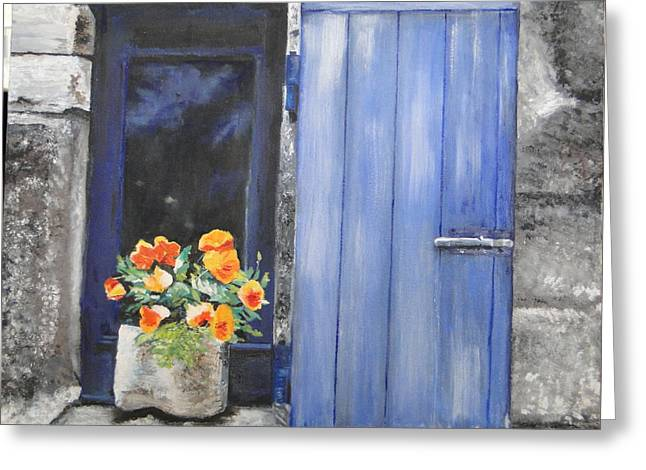 Cindy Plutnicki Greeting Cards - Poppies on the Windowsill Greeting Card by Cindy Plutnicki