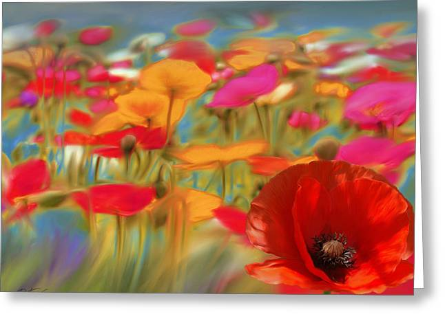 Floral Photographs Mixed Media Greeting Cards - Poppy Field Greeting Card by Batya Sagy