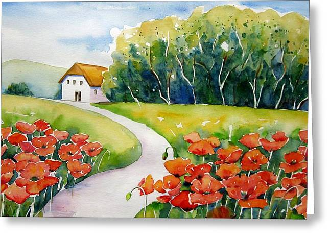 Haus Paintings Greeting Cards - Poppy Field Greeting Card by Meltem Kilic