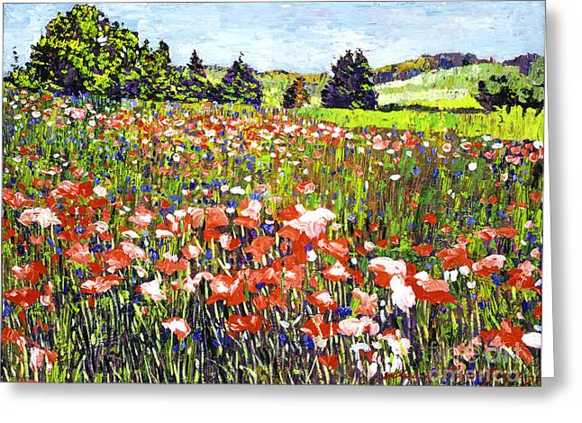 Poppy Fields In France Greeting Card by David Lloyd Glover