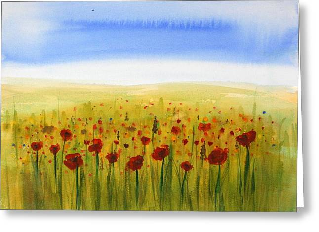 Floral Photographs Paintings Greeting Cards - Poppy Meadow Greeting Card by Julie Lueders
