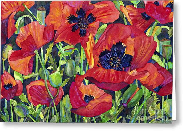 Barb Pearson Greeting Cards - Poppy Profusion Greeting Card by Barb Pearson