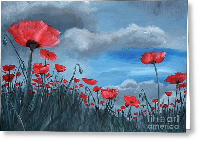 Storm Prints Paintings Greeting Cards - Poppy Storm Greeting Card by Jamie Hartley