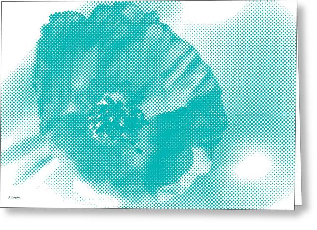 Fine Art Digital Art Greeting Cards - Poppy White and Turquoise Greeting Card by Jayne Logan Intveld