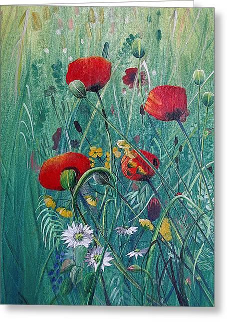 Jan Farthing Greeting Cards - Poppydelight  Greeting Card by Jan Farthing