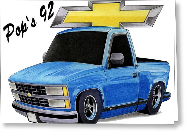 Transporation Greeting Cards - Pops 92 Chevy Greeting Card by Lyle Brown