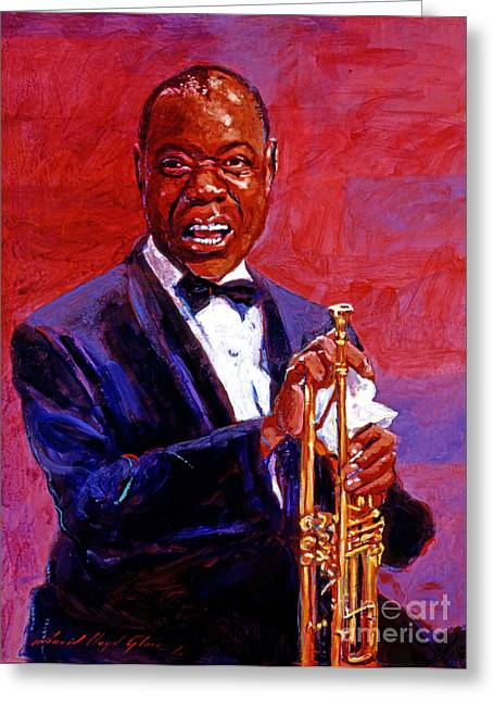 Jazz Trumpet Greeting Cards - Pops Armstrong Greeting Card by David Lloyd Glover
