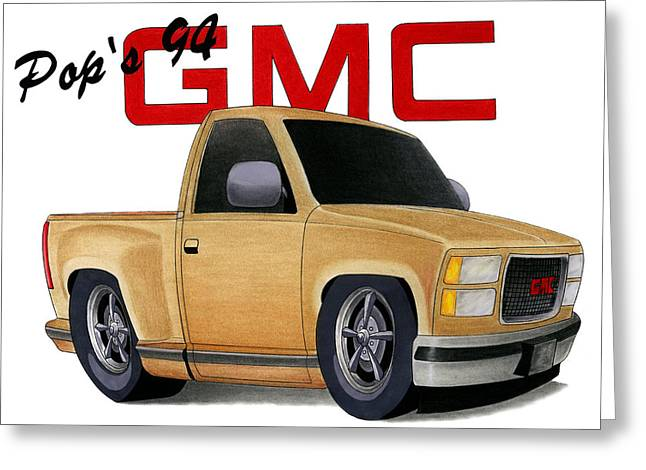 Pop's Gmc Greeting Card by Lyle Brown