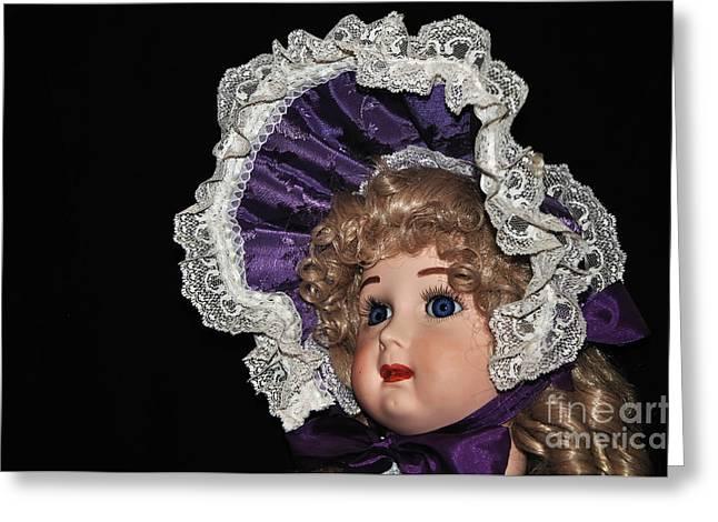 Eyelash Greeting Cards - Porcelain Doll - Head and Bonnet Greeting Card by Kaye Menner