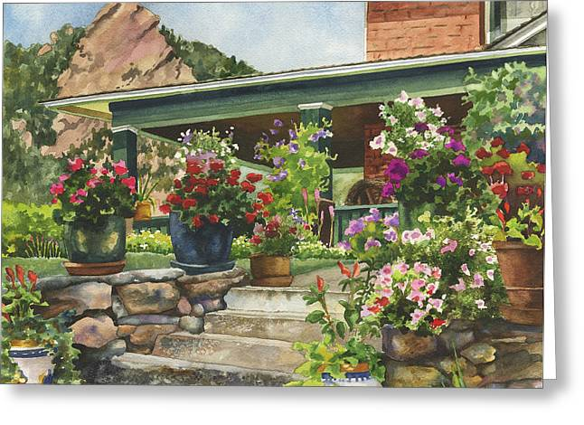 Stone Steps Greeting Cards - Porch Garden Greeting Card by Anne Gifford