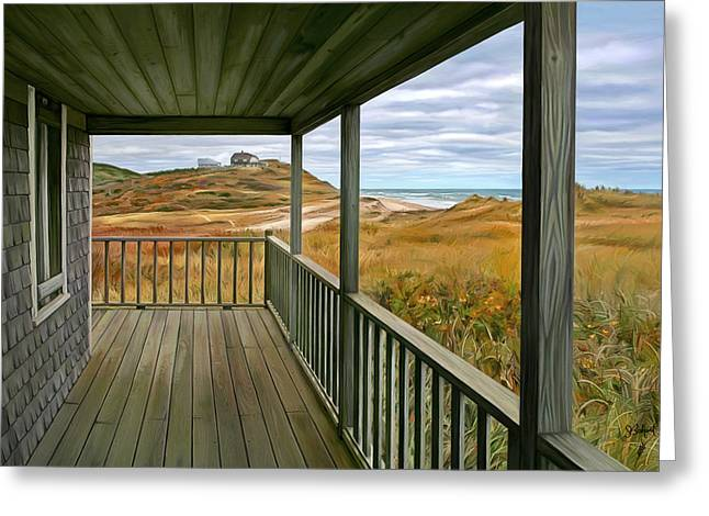 Sue Brehant Greeting Cards - Porch View Greeting Card by Sue  Brehant