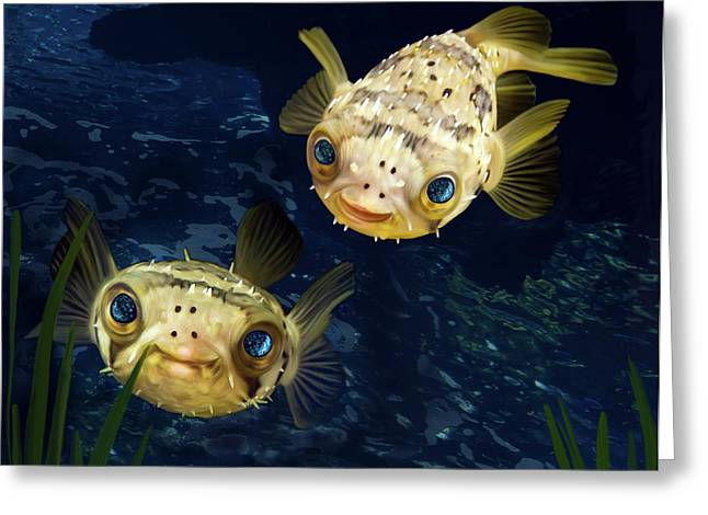 Sea Life Digital Art Greeting Cards - Porcupine Puffer  Greeting Card by Thanh Thuy Nguyen
