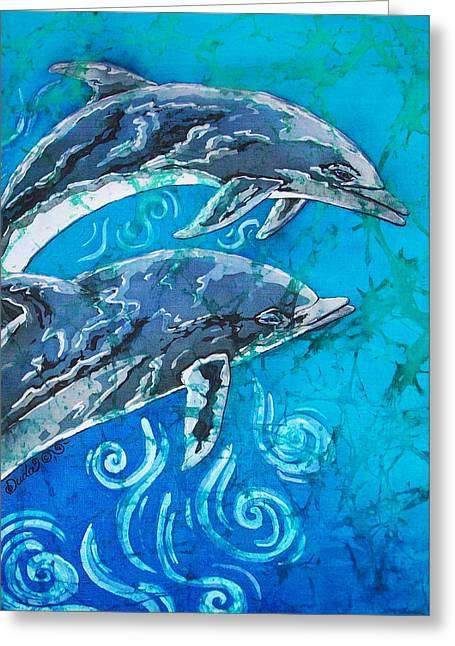 Fish Tapestries - Textiles Greeting Cards - Porpoise Pair - Close Up Greeting Card by Sue Duda