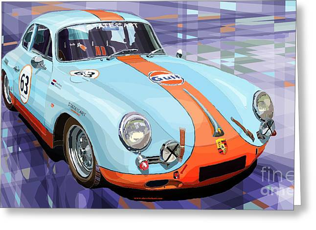 Racing Car Greeting Cards - Porsche 356 Gulf Greeting Card by Yuriy  Shevchuk