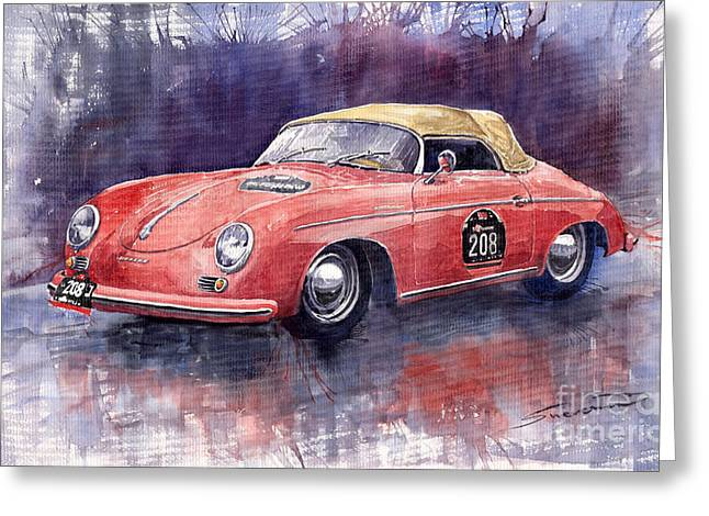 Auto Greeting Cards - Porsche 356 Speedster Mille Miglia Greeting Card by Yuriy  Shevchuk