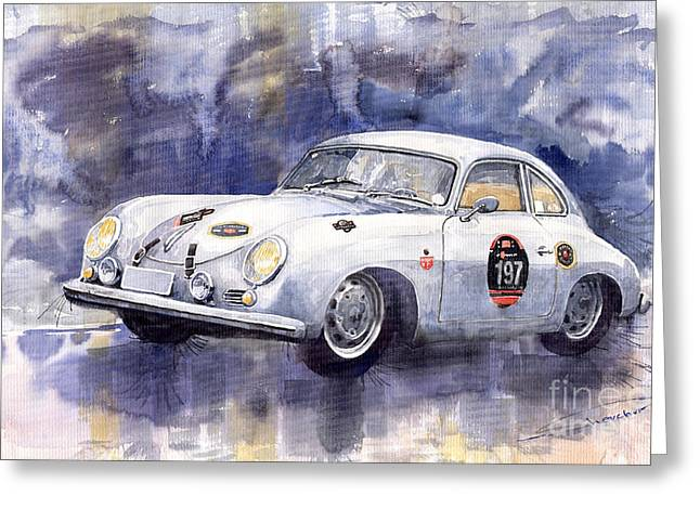 Racing Car Greeting Cards - Porsche 356 Coupe Greeting Card by Yuriy  Shevchuk
