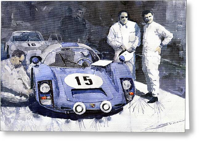 Automotive Greeting Cards - Porsche 906 Daytona 1966 Herrmann-Linge Greeting Card by Yuriy  Shevchuk