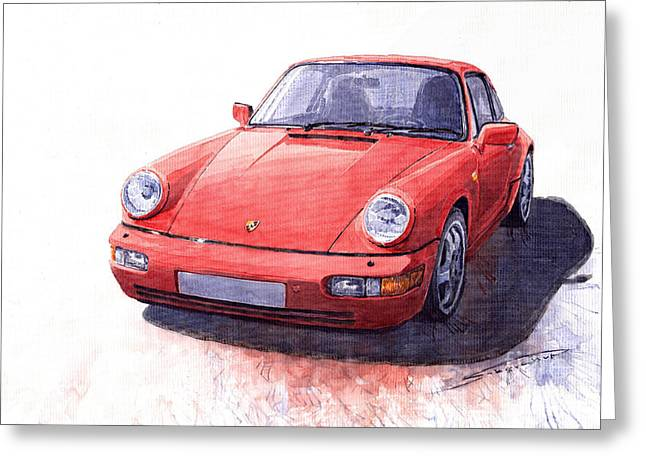 Vintage Auto Greeting Cards - Porsche 911 Carrera 2 1990 Greeting Card by Yuriy  Shevchuk