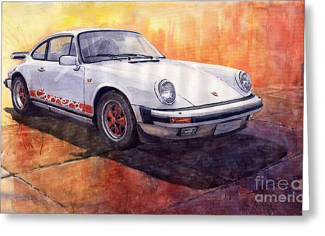 Vintage Auto Greeting Cards - Porsche 911 Carrera Greeting Card by Yuriy  Shevchuk