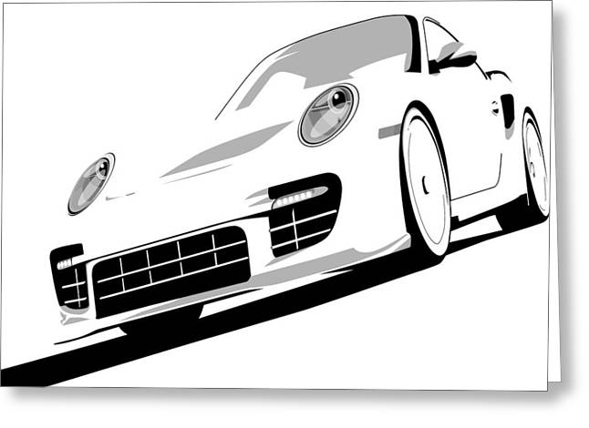 Vehicle Greeting Cards - Porsche 911 GT2 White Greeting Card by Michael Tompsett