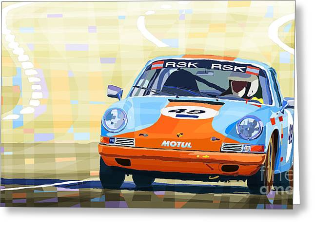 Men Mixed Media Greeting Cards - Porsche 911 S  Classic Le Mans 24  Greeting Card by Yuriy  Shevchuk