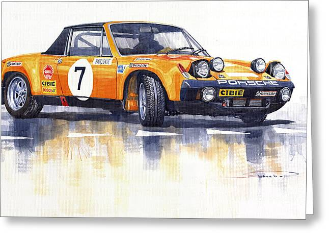 Classic Sports Cars Greeting Cards - Porsche 914-6 GT Rally Greeting Card by Yuriy  Shevchuk