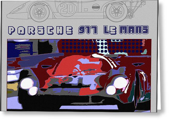 Indy Car Greeting Cards - Porsche 917 LeMans Winner Layout Greeting Card by Curt Johnson