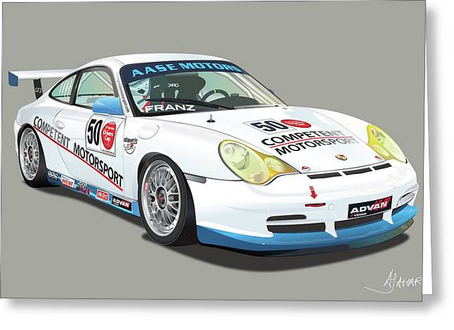 Alm Greeting Cards - Porsche 996 GT3 Cup Greeting Card by Alain Jamar