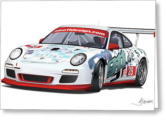 Alm Greeting Cards - porsche 997 GT3 CUP Greeting Card by Alain Jamar