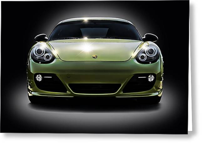 German Greeting Cards - Porsche Cayman in Peridot Paint Greeting Card by Douglas Pittman