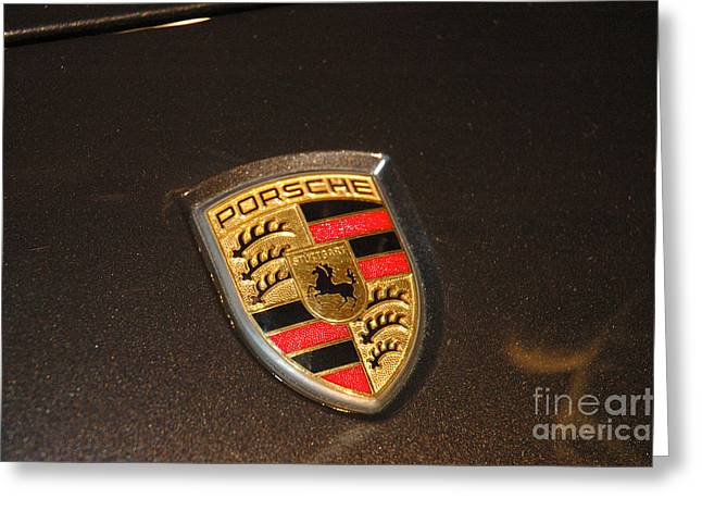Hores Greeting Cards - Porsche emblem Greeting Card by Micah May