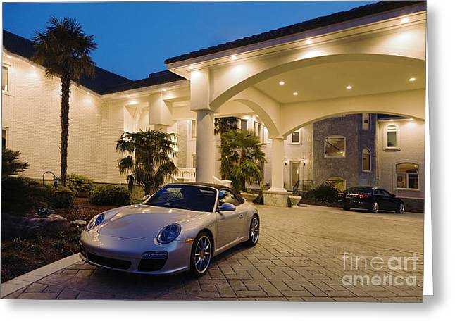 Beach At Night Greeting Cards - Porsche Parked At Mansion Greeting Card by Roberto Westbrook