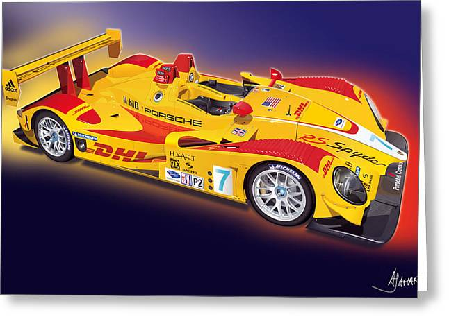 Alm Greeting Cards - porsche RS Spyder Greeting Card by Alain Jamar