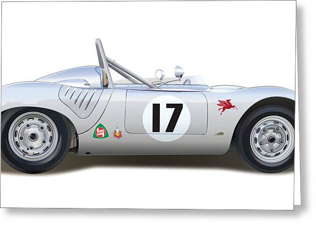 Alm Greeting Cards - 1959 Porsche Type 718 RSK Spyder Greeting Card by Alain Jamar