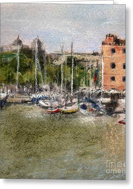 City Buildings Pastels Greeting Cards - Port Barcelona Greeting Card by Mar Ramos
