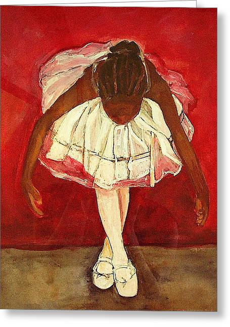 Ballet Dancers Paintings Greeting Cards - Port de bras Forward Greeting Card by Amira Najah Whitfield