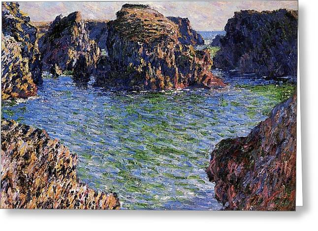 Headlands Greeting Cards - Port Goulphar Belle Ile Brittany Greeting Card by Claude Monet