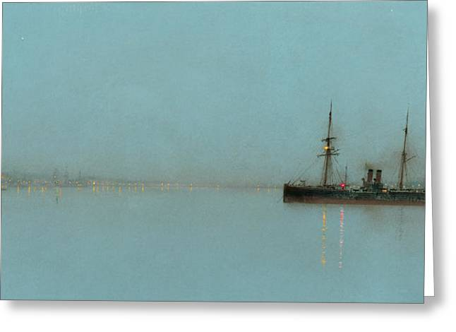 North Sea Greeting Cards - Port Light Greeting Card by John Atkinson Grimshaw