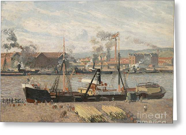 Docked Sailboat Greeting Cards - Port of Rouen Greeting Card by Camille Pissarro